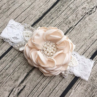 Ivory Vintage Headband, Flower Girl Hair Accessories, Flower Girl Headband, Baby Girls Headband, Lace Headband, Flower Headband