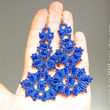 "Statement indigo blue lace earrings - Big royal blue boho lace earrings with beads.""Filigran"" collection"
