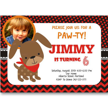Paw-ty Dog Polka Dot Chevron red Kids Birthday Invitation Party Design