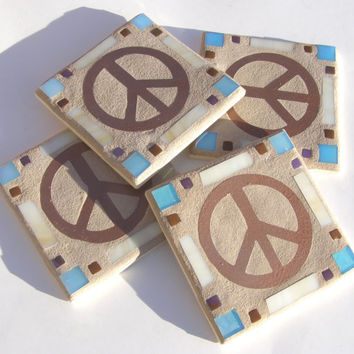 Copper Peace Sign Coaster Glass Coaster Copper Coaster Metal Coaster Hippie Decor Retro Decor Peace Love Mosaic Boho Art Copper Unisex Decor
