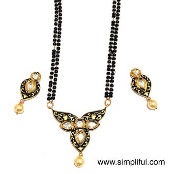 Inverted Teardrop Antique gold Pendant Mangalsutra with Earring - Double Chain - Long