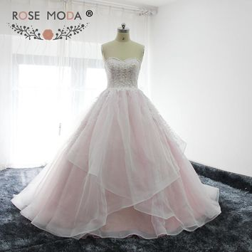 Rose Moda Baby Pink Ball Gown Lace Prom Dress with Pearls Back to School Dress Vestidos de 15 Anos