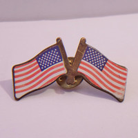 Double American Flag Lapel Pin Patriotic Unisex Jewelry Accessories Veteran's Day Memorial Day President's Day