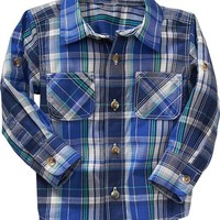 Plaid Rolled-Sleeve Shirts for Baby