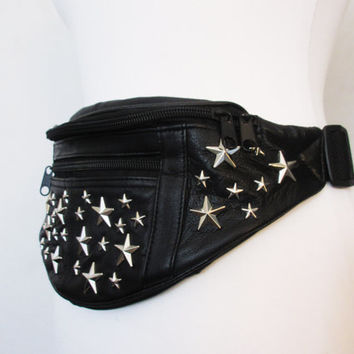 Bumbag, black leather bumbag, silver stars, customised bumbag, christmas accessories