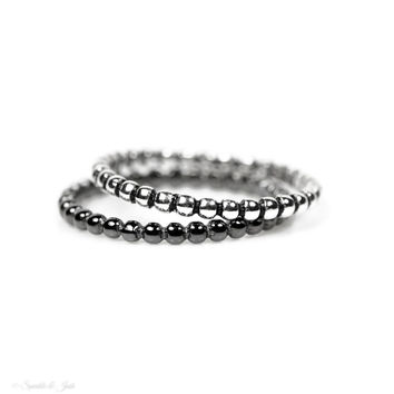 Sterling Silver Beaded Stacking Rings - Various Finishes