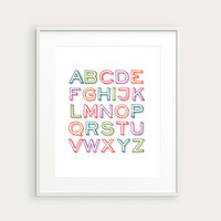 Alphabet Poster for Modern Nursery or Kid's Room, Children Decor, Bright or Custom Colors, 8x10 Art Print