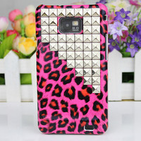 Leopard Hard Case Cover With Silvery Stud For Samsung Galaxy S2 i9100,Samsung Galaxy S 2 II i9100