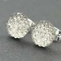 Silver Crystal Earrings : Crystal Stud Earrings, Simple, Minimal, Bright, Fun, Galaxy, Sparkle, Diamond