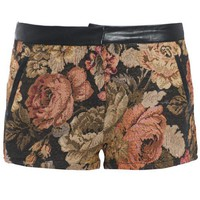 Womens Tapestry Floral Leather Shorts