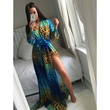 Long Sleeve Leopard Blue Twist Maxi Dress