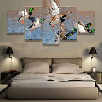 Duck Hunting Mallard Canvas Print Home Decor Wall Art Five Piece