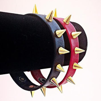 Leather Spiked Strap Bracelet with 10mm Gold Spikes!  SUPER SOFT LEATHER