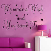 We Made A Wish And You Came True Stars Child Room Wall Sticker Decal Home Decor = 1706400644