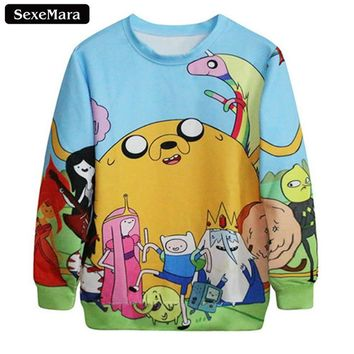 SexeMara Autumn Tracksuit Comfortable Femme Adventure Time Sweatshirts Harajuku Pullover Fitness Women Men  Drop Shipping G24