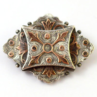 Victorian Aesthetic Sterling and Rose Gold English Brooch Pin
