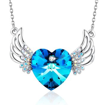 "Angelady"" Love Freedom"" Blue Heart Pendant Necklace with Wings Gift for Her, Made with Swarovski Crystal"