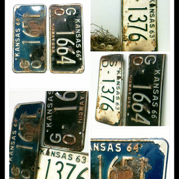 Vintage License Plate,Wall Decor,1960s Farmhouse, Kansas,Barn Decor, Truck Decor,Man Cave,Auto,Old Numbers,Industrial