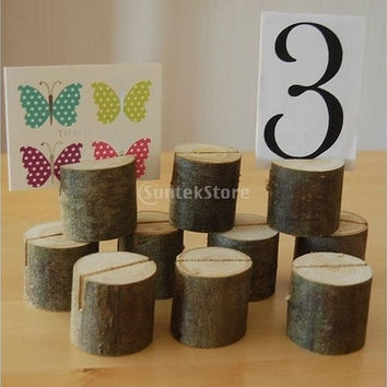 10pcs Wooden Name Place Card Holders Table Number Holder for Wedding Decor (Color: Burlywood)