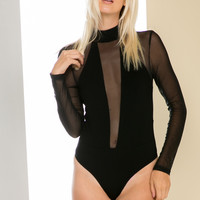 Long Sleeved Black Choker Body-con Suit