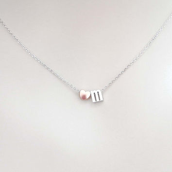 Personal, Lower case, Initial, Pink, Heart, Gold, Silver, Necklace, Lovers, Friends, Mom, Sister, Gift