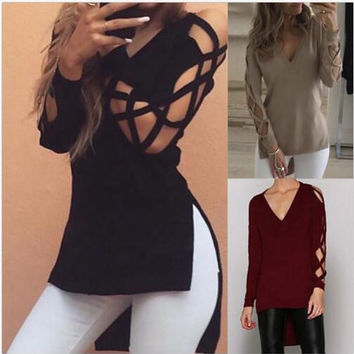 BKLD 2017 New Sexy Women Hollow Out Long Sleeve Shirts T-shirt Fashion Spring Autumn V neck High Low Split Top Long