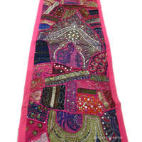Pink Vintage Expensive Beads Work and Embroidered Tapestry Runner