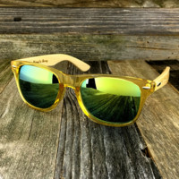 Bamboo Wood Transparent Yellow Hybrid Sunglasses