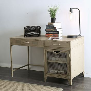 2 Drawers Metal Desk with Wooden Top And Wire Mesh Design, Distressed Ivory