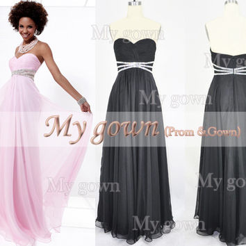 Strapless A Line Beads Draped Black Chiffon Prom Dress, Wedding Dress, Evening Gown,Party Dresses,Little Black Dress