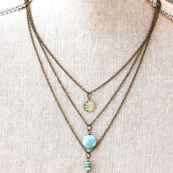 Serena. Bohemian layered charm necklace. Tiedupmemories