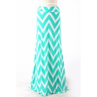 Chevron Maxi Skirt - mint