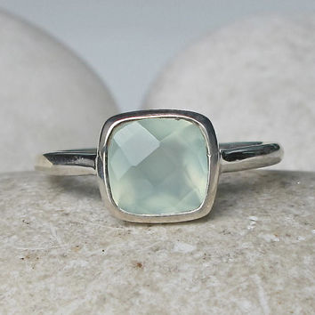 Sale Seaform Ring- Gemstone Ring- Aqua Ring- Stack Ring- Square Ring- Mint Ring- Topaz Ring- Jewelry Gift- Bezel Ring