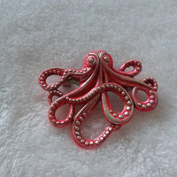 Pink mixed blended  Octopus silvertone   brooch  pin