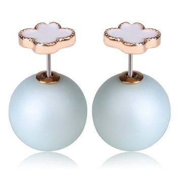 Mise en Dior Style Tribal v.s Van Cleef Earrings - White & Matte Baby Blue