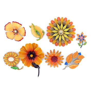 Orange and Peach Enamel Flower Lot, 8 pins, Flower Brooches