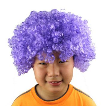 Halloween Mens Ladies Curly Afro Fancy Dress Wigs Funky Disco Clown Costume Cosplay Wig