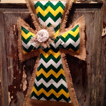 Medium Green and Gold Burlap Cross