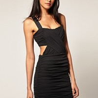 ASOS | ASOS Cut Out Dress With Cross Front Mesh at ASOS