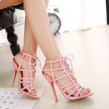 Straps Lace Up Cut Out Open Toe Stiletto High Heels Sandals