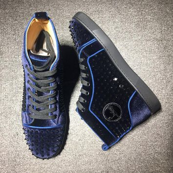 Cl Christian Louboutin Louis Spikes Mid Style #1801 Sneakers Fashion Shoes