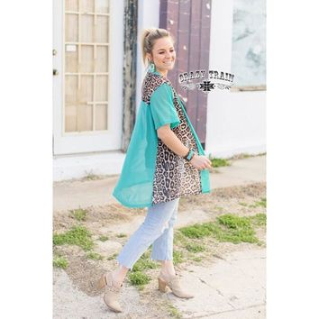 Turq and Leopard Color Block Cardigan by Crazy Train
