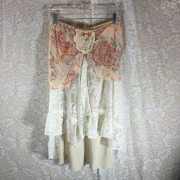 S-M  Floral Grunge Boho Lace  Skirt  Festival Rustic  / Upcycled Shabby Chic Romantic Punk Prairie Skirt / Gypsy Skirt /  By Tattered Fx