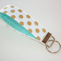 Key FOB / KeyChain / Wristlet key strap - Metallic gold dots on white with aqua - gift for her under 10