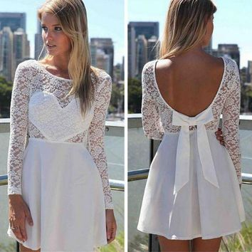 PEAP2Q cute lace backless bow show body dress