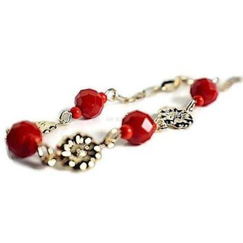 Flower Red Beads  Bracelet Gold Plated