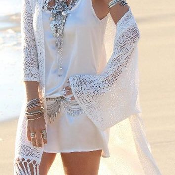 White Cut out Lace Tassel Bohemian Beach Long Cover Up Cardigan Kimono