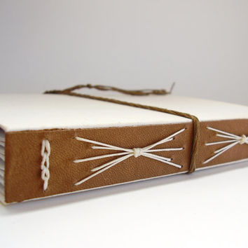 Hand bound Long Stitch Link Stitch Journal, Brown Leather Stitched White Journal
