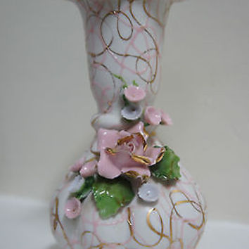 "Vintage Lefton 1950""s Pink Vase with Hand Applied Flowers No. 70443 Made Japan"