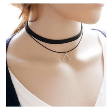 New Triangle Geometric Multilayer Chokers Pendant  Necklace For Women